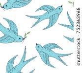 swift bird vector seamless...   Shutterstock .eps vector #752363968