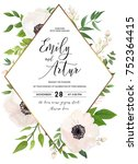 wedding invite  invitation ... | Shutterstock .eps vector #752364415