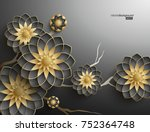 3d branches of black and golden ... | Shutterstock .eps vector #752364748