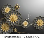 3d branches of black and golden ... | Shutterstock . vector #752364772