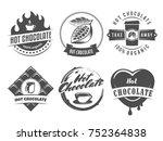 vector hot chocolate logos.... | Shutterstock .eps vector #752364838
