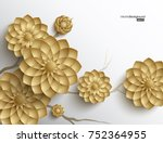 3d branches of golden arabesque ... | Shutterstock .eps vector #752364955