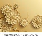 3d branches of golden arabesque ... | Shutterstock . vector #752364976