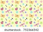 cute flying bugs background | Shutterstock .eps vector #752366542