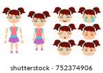 set of little girl for... | Shutterstock .eps vector #752374906