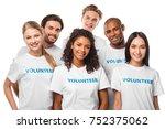 happy multiethnic group of... | Shutterstock . vector #752375062