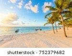 sunrise at akumal beach ... | Shutterstock . vector #752379682