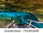 cenote dos ojos in quintana roo ... | Shutterstock . vector #752381848