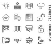 thin line icon set   chip  sun... | Shutterstock .eps vector #752386966