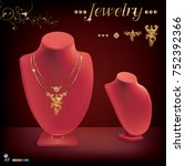 beautiful and luxury necklace... | Shutterstock .eps vector #752392366