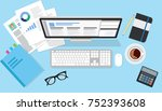 business top view scene with... | Shutterstock .eps vector #752393608