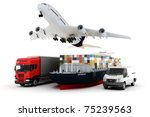 3d world wide cargo transport... | Shutterstock . vector #75239563