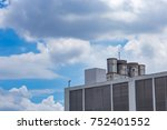 water tanks on the roof top... | Shutterstock . vector #752401552