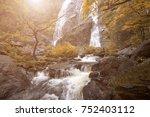 khlong lan waterfall the... | Shutterstock . vector #752403112