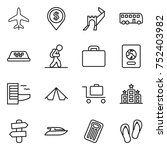 thin line icon set   plane ... | Shutterstock .eps vector #752403982
