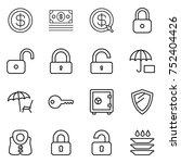 thin line icon set   dollar ... | Shutterstock .eps vector #752404426