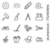 thin line icon set   gear ... | Shutterstock .eps vector #752404846