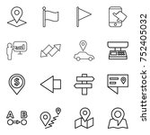 thin line icon set   pointer ... | Shutterstock .eps vector #752405032