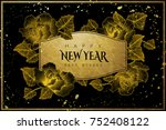 happy new year with blooming... | Shutterstock .eps vector #752408122
