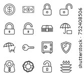 thin line icon set   dollar ... | Shutterstock .eps vector #752408506