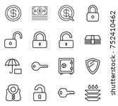 thin line icon set   dollar ... | Shutterstock .eps vector #752410462