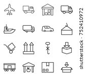 thin line icon set   plane ... | Shutterstock .eps vector #752410972