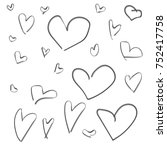 set of hand drawn hearts   Shutterstock .eps vector #752417758