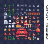 set of vector pixel art xmas... | Shutterstock .eps vector #752421892