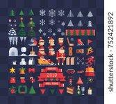 set of vector pixel art xmas... | Shutterstock .eps vector #752421892