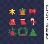 pixel art 8 bit christmas icons ... | Shutterstock .eps vector #752421946