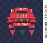 xmas ribbons set. happy new... | Shutterstock .eps vector #752422156