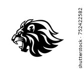 angry roaring lion head black... | Shutterstock .eps vector #752422582