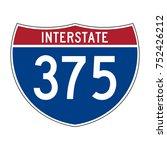 interstate highway 375 road sign | Shutterstock .eps vector #752426212