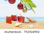 christmas tree decorations on... | Shutterstock . vector #752426902
