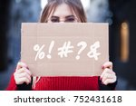 a set of symbols or abuse on a... | Shutterstock . vector #752431618
