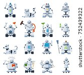 home robots set. domestic robot ... | Shutterstock .eps vector #752439322