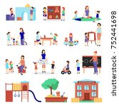 kindergarten icons set with... | Shutterstock . vector #752441698