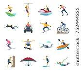 extreme sport activities flat... | Shutterstock . vector #752444332
