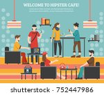 hipster flat  illustration with ... | Shutterstock . vector #752447986