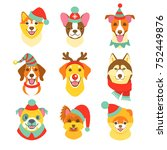 earth dogs faces collection.... | Shutterstock .eps vector #752449876