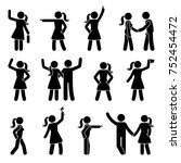 stick figure different arms... | Shutterstock .eps vector #752454472
