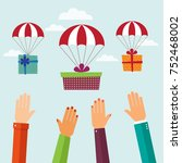 gift with parachute flying in... | Shutterstock .eps vector #752468002