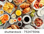 large selection of breakfast... | Shutterstock . vector #752475046