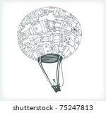 Cartoon Robot Balloon on White Background - stock vector