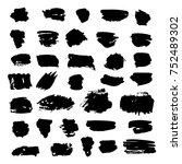 black vector brush strokes of... | Shutterstock .eps vector #752489302