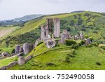 corfe castle ruins and hills in ... | Shutterstock . vector #752490058