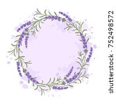 vector lavender wreath with... | Shutterstock .eps vector #752498572