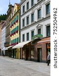 Small photo of Karlovy Vary, Czechia - September 11, 2017: Townhouses and their colorful and restored facades are the adornment of the street along which you can see them