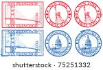usa famous cities stamps with...