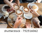 friends with desserts and... | Shutterstock . vector #752516062